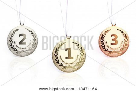 Gold, Silver And Bronze Medals Isolated