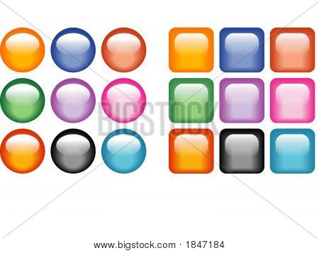 Colorful Glass Buttons - Vector Illustration