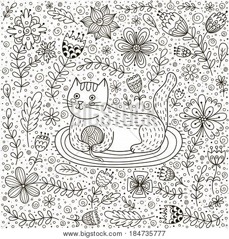 cute cat with a ball of yarn and doodle flowers adult and children coloring book - Coloring Book Yarns