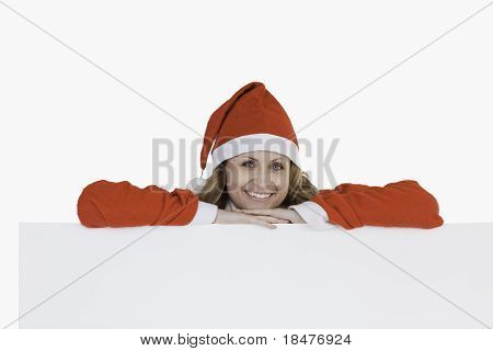 Cute Blond-haired Woman Dressed As Santa Claus