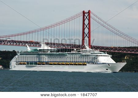 Cruise Ship Under The Bridge