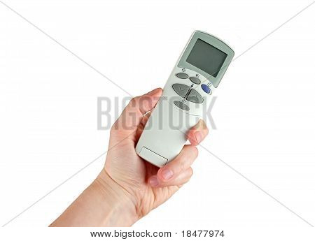 Remote control of air conditioner in hand
