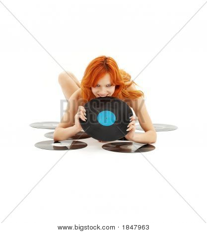 Playful Redhead With Vinyl Records