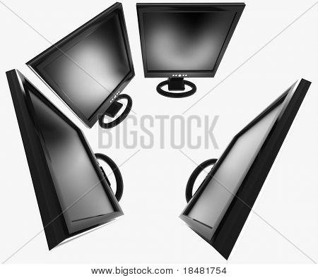 Group of flat screen monitors