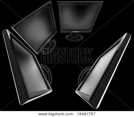 Group of LCD monitors