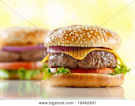 two cheeseburgers with selective focus on the foreground burger