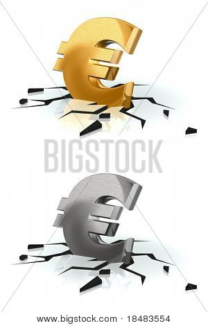 Crash of Euro (gold and brushed metal)