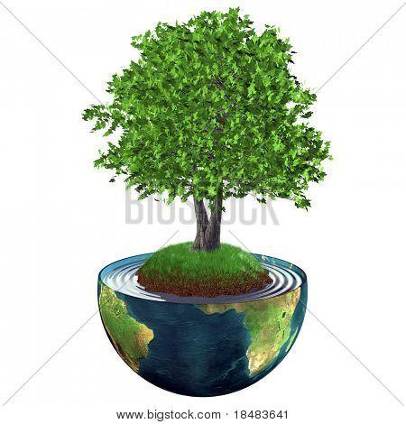 Ilustração de uma árvore 3D realista que cresce em uma colina gramada no centro do planeta terra