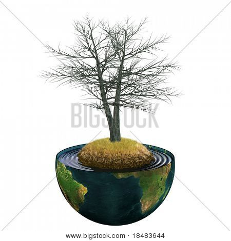 Illustration of a dead realistic 3d tree growing on the center of planet earth