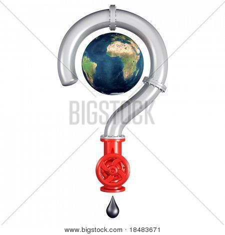 Illustration of a 3d globe inside a pipe question mark with a shut off valve and dripping oil