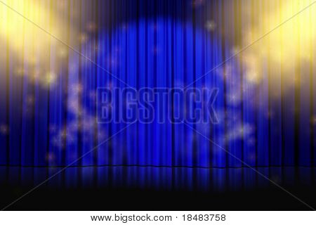 Illustration of yellow sparkling on an empty stage with closed blue curtains