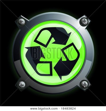 Illustration of a shiny green recycle arrow button icon