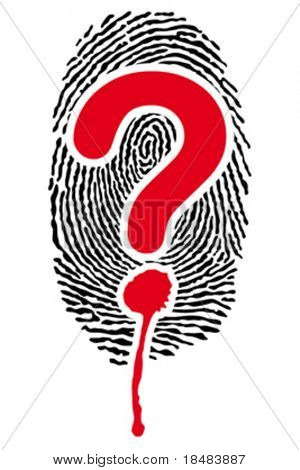fingerprints with blood-stained interrogation mark