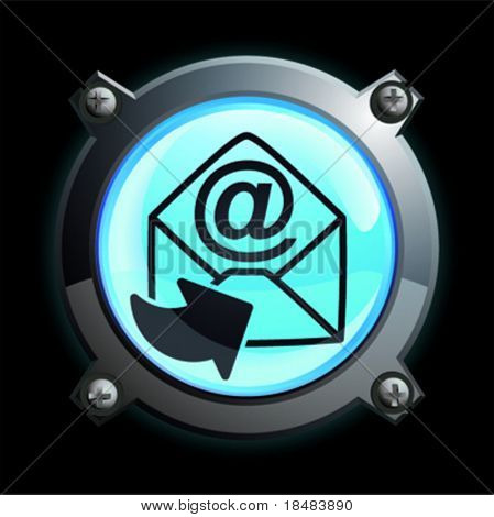 Illustration of a glowing blue arrow and at symbol envelope button
