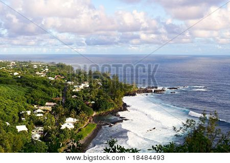Panoramic view of the Reunion island - Beach of Manapany