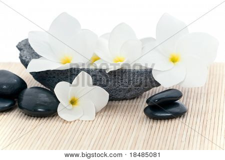 White Frangipani flowers in a stone cup with black stones for massage on a bamboo mat in a spa.