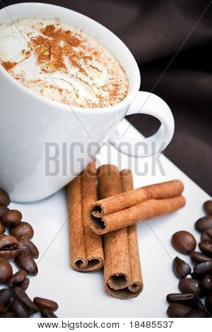 Frothy cappuccino coffee in plate with cinnamon sticks and coffee beans.