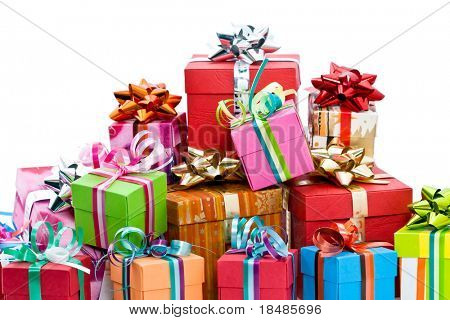 Pile of colorful christmas presents isolated on white background