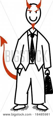 Stick devil businessman isolated on white background