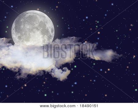 Cena de noite com lua cheia, nuvens e estrelas