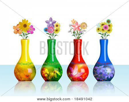 A flower vases collection with different colors isolated on white background