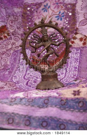 Bronze Shiva On Purple