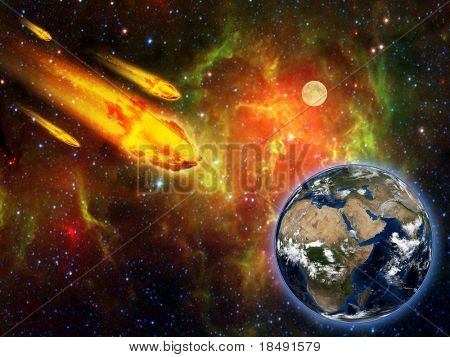burning asteroid hitting earth surface