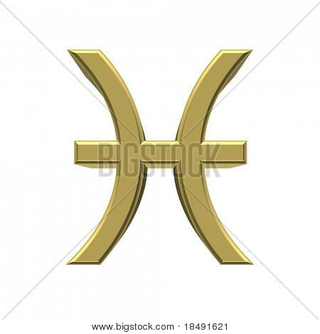 pisces - 3D golden sign of the zodiac