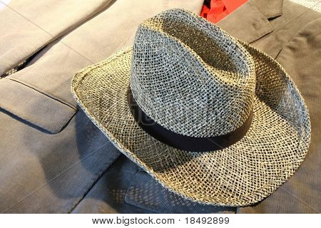 Straw hat and suit