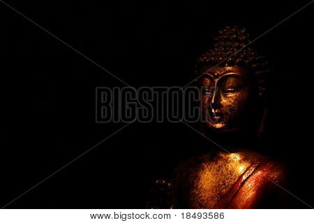 Buddha on a black background. Light painting technique.