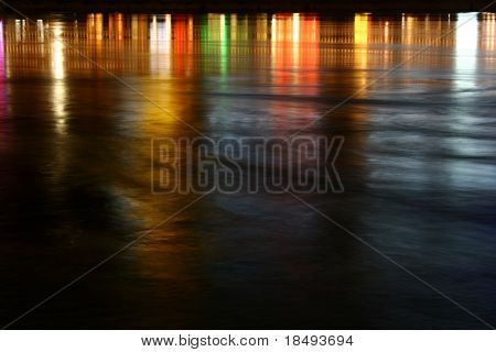 Reflection of lights on water. Taken with slow shutter speed.