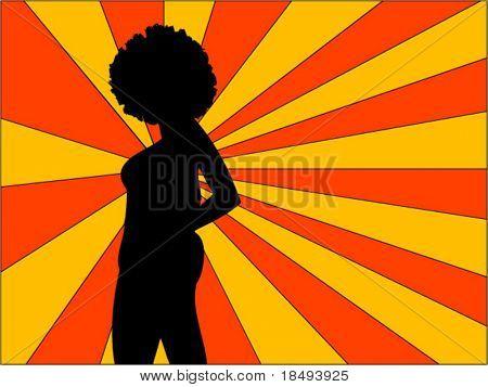 Retro Vektor. Frau posiert mit einem Sonnenstrahl-Hintergrund.