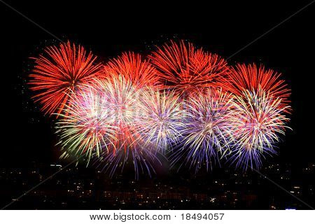 Colorful fireworks display. Shots taken on tripod with mirror lockup and shutter release cable to ensure minimum camera shake.
