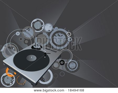 Retro vector with grunge background and a dj mix turntable. Concept: Party and entertainment.