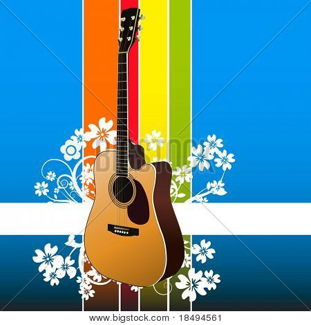 Vector - Realistic classical guitar on a floral background. No gradient mesh used.