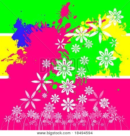 Vector - Bright and colorful paint splashes and floral background.
