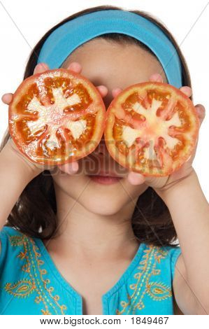 Girl With Tomatoes In Her Eyes