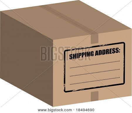 Vector - Big box / carton on a white background (isolated).