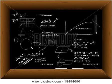 Vector - placa preta em um frame de madeira com dois pedaços de giz com desenhos técnicos.