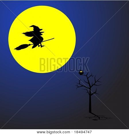 Witch flying on a broom stick across a full moon. Concept: Halloween.