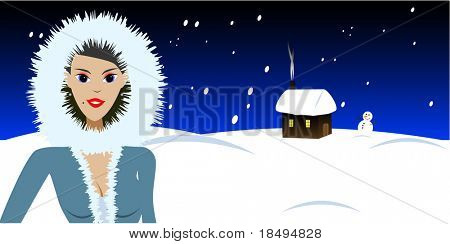 High Res Jpeg - Beautiful woman in a fur coat standing in front of a cabin covered in snow. Christmas concept.