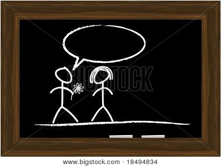 High Res Jpeg - Black board in a wooden frame with two pieces of chalk. Copy space.