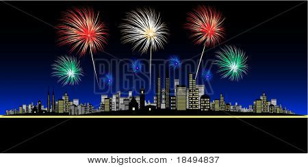Vector - Fireworks over a big and bright city. Concept: Celebration or new year.