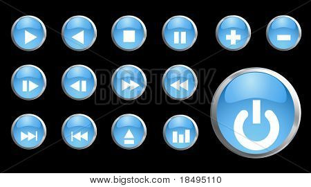 Vector - Shiny 3d black metallic buttons with music symbols.