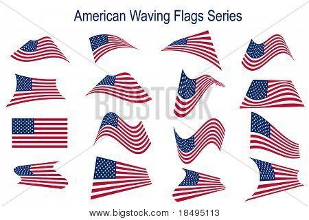Vector - American USA muchas banderas ondeando en diferentes estilos para el uso de la bandera o icono.