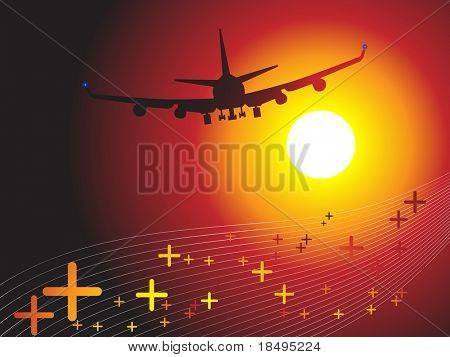 Vector - Air plane flying towards sunset. Concept: Vacation travel.