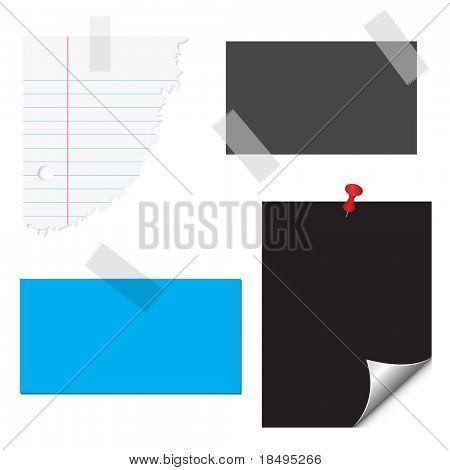 Vektor - Karten, geripptem Papier, Klebeband und Pin. Briefpapier-Set.