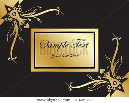 Vector - Book with golden emblem with frame corners. Copy space for image or text.