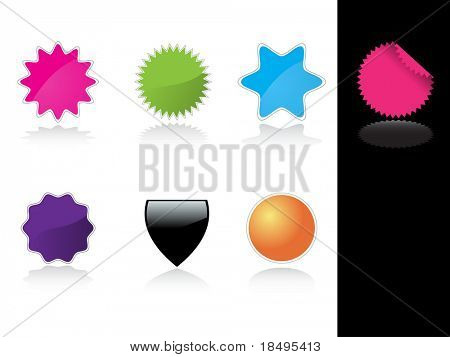 Vector - Glossy colorful web 2.0 tag stickers with reflection.