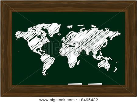 Vector - Blackboard with wooden frames and two white chalks, world map